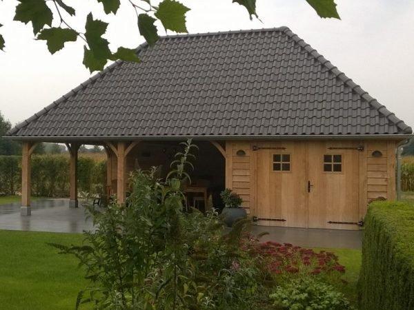 Tuinhuis met overkapping van eiken